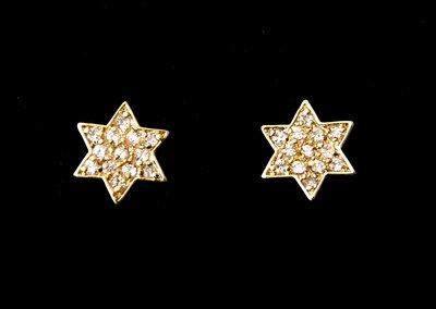 Davidster oorknopjes belegd met zirconia geel-goud verguld van de Israelische ontwerpster Marina