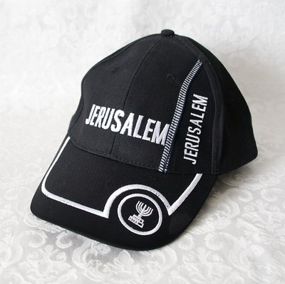 Israel Petje / Baseball Cap Zwart met Jerusalem borduursel en Menorah in wit geborduurd