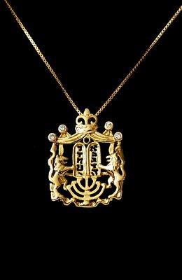 Hangertje Schild met de 10 geboden geel-goud verguld van de Israelische ontwerpster Marina