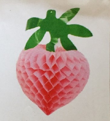 Aardbei roze voor de Loofhut, groot formaat. Uitgevouwen met blad ongeveer 50 cm hoog