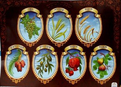Poster voor de Loofhut met de 7 vruchten van het land uit Deutronomium 8