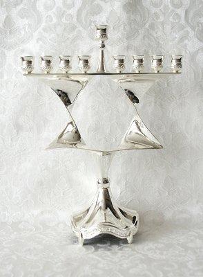 Chanukah Menorah, Chanoekia in de vorm van een Davidster uitgevoerd in nikkel