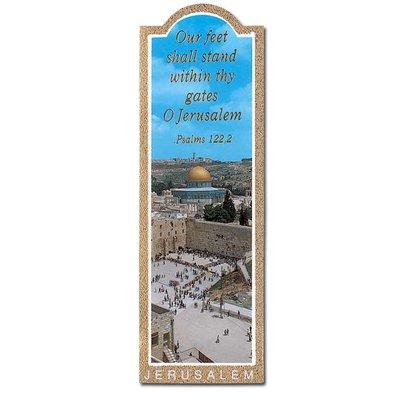 Boekenlegger met een foto van de Westelijke Muur (Kotel) in Jeruzalem en de tekst uit Ps.122:2 Our feet stand within thy gates o Jerusalem
