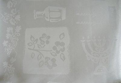 Tafelkleed, wit voor de Shabbat of de Bijbelse feestdagen Afmeting 200 x 145 cm