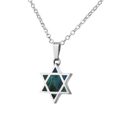 Davidster hangertje gevuld met Eilatsteen aan een bijpassende zilveren ketting uit de Rafael Jewelry Collectie