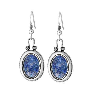 Oorbellen met Romeins Glas in prachtig handbewerkt ovaal zilveren hangertje uit de Rafael Jewelry Collectie