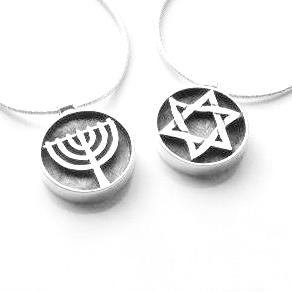 Davidster / Menorah hangertje, zilveren hangertje met keuze mogelijkheid aan een bijpassende zilveren ketting uit de Rafael Jewelry Collectie