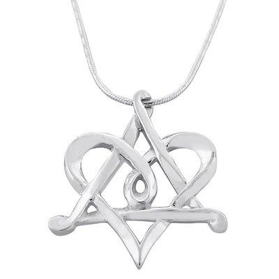 Davidster / Hart hangertje, zilveren hangertje met een dubbele betekenis aan een bijpassende zilveren ketting uit de Rafael Jewelry Collectie
