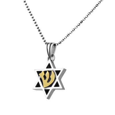 Davidster hangertje van zilver met gouden (9 Kt) letter Sjin van Shaddai (Almachtige) aan een bijpassende zilveren ketting uit de Rafael Jewelry Collectie