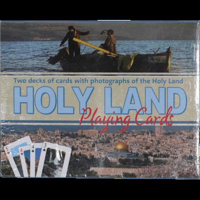 Speelkaarten met foto's van allerlei plaatsen in Israël, 2 complete spellen speelkaarten