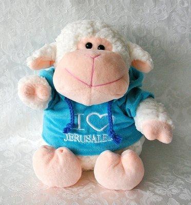 Schattig plush knuffelschaap met blauwe hoody waarop 'I love Jerusalem' is geborduurd