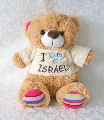 Schattig Bruin Israel Beertje met kleurrijke details en truitje met de tekst 'I love Israel'