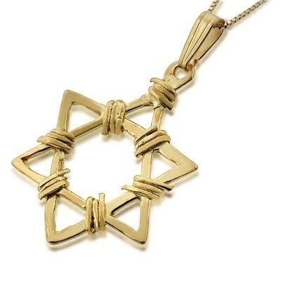 Davidster hangertje, 14K gouden Davidster hangertje in exclusief omwikkeld ontwerp uit de Rafael Jewelry collectie