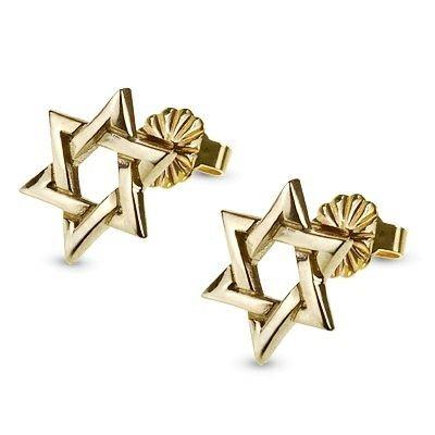 Davidster oorbelletjes, 14K gouden oorstekers met Davidster uit de Rafael Jewelry collectie