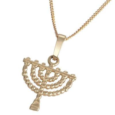Menorah / Menora hangertje, 14K bewerkt gouden Menorah hangertje in sierlijk ontwerp uit de Rafael Jewelry collectie