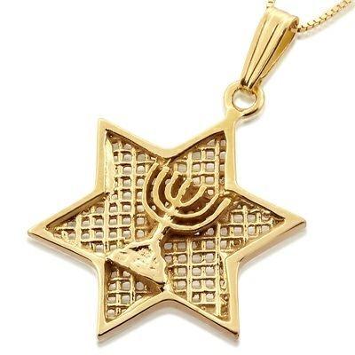 Davidster hangertje, 14K gouden Davidster hangertje met Menorah uit de Rafael Jewelry collectie