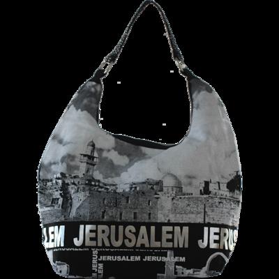 Israël Schoudertas met mooie zwart/wit print van de 'Kotel' (de Westelijke Muur) en met zilver groot het woord Jeruzalem