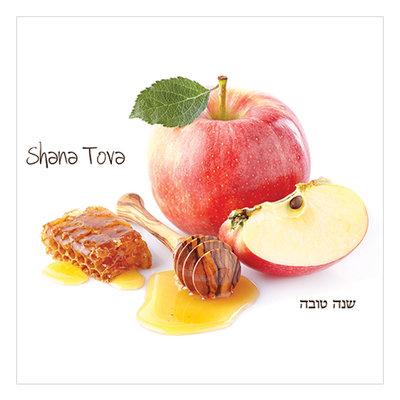 Papieren servetten met Appels en Honing voor het Joods Nieuwjaar en de Hebreeuwse tekst: Shana Tova (Gelukkig Nieuwjaar)