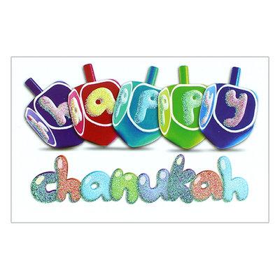 Chanukah kaart, langwerpige kaart met de tekst: Happy Chanukah, Chanukah Sameach