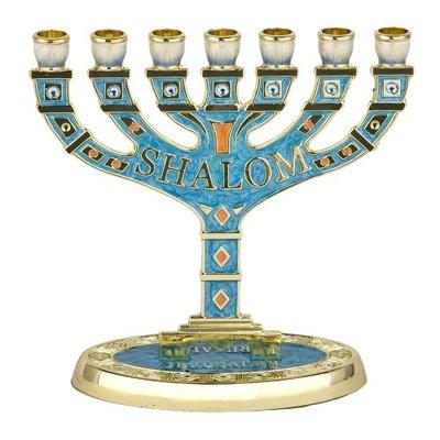 Menorah, kleine schattige shalom Menorah verguld met turquoise kleurige emaille 10,5 x 10,5 cm