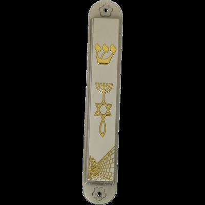 Mezuzah, grote mat-zilverkleurige Mezuzah met goudkleurig Messiaans Zegel en de Kotel (Westelijke Muur in Jeruzalem)
