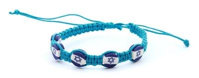 Armband, leuk blauw gehaakt armbandje met 'Israelvlag' kralen