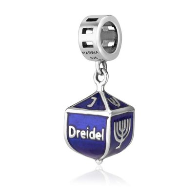 Hangend bedeltje Dreidel / Chanukah Bedeltje van zilver met blauwe emaille