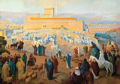 Poster uit Israel met mensen op pelgrimstocht naar Jeruzalem die arriveren bij de Tempel