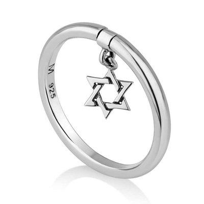 Ring Davidster, zilveren Ring uit Israel met een hangend Davidster bedeltje van de Israelische ontwerpster Marina