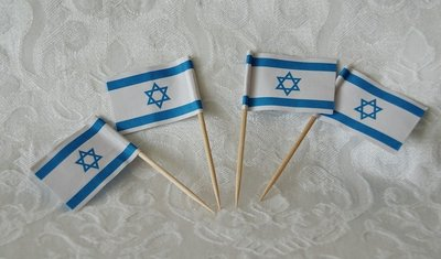 Snackprikkertjes / Cocktailprikkertjes met Israel vlaggetjes. Pakje met 100 stuks