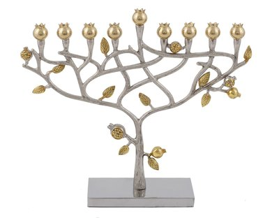 Chanukah Menorah van Yair Emanuel een prachtige handgemaakte 'Levensboom' Chanoekia met vergulde granaatappels
