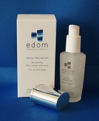 Edom gezichtsreinigingsgel met zacht scrubbende werking. flesje van 30 ml.