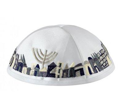 Keppeltje, stevige satijnen Kippah met Jeruzalem langs de rand geborduurd in donkerblauw/zilvertinten