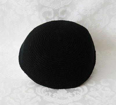Keppeltje, zwarte Kippah van zeer goed kwaliteit soepel DMC garen met een doorsnede van 20 cm