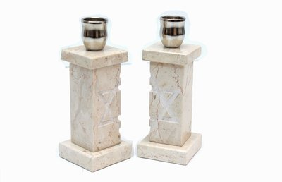 Shabbats kandelaars van Jeruzalemsteen, heel bijzondere set kandelaars met een Davidster