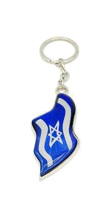 Sleutelhanger, luxe zilverkleurige Israelische vlag sleutelhanger met glanzend kunststof en Hebreeuws gebed voor de reiziger op de achterkant
