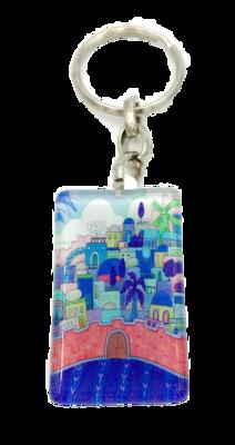 Sleutelhanger, luxe zilverkleurig met versterkt glas Jeruzalem in blauw met Hebreeuwse zegenbede voor de reiziger op de achterkant