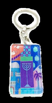 Sleutelhanger, luxe zilverkleurig met versterkt glas Menorah in blauw met Hebreeuwse zegenbede voor de reiziger op de achterkant