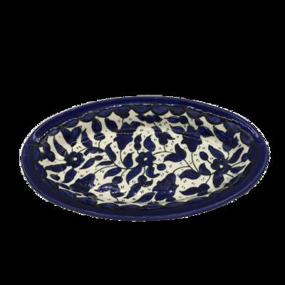 Schoteltje / Serveerschaaltje ovaal van Armeens aardewerk in blauw/wit Afmeting 20,5 x 13 cm