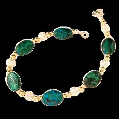 Prachtige Armband met glanzend gepolijste ovale Eilatstenen en een combinatie van 9 Kt vergulde en zilveren kralen uit de Rafael Jewelry Collectie