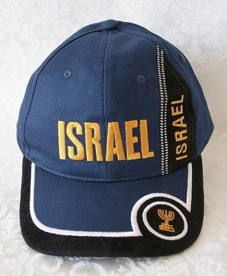 Israel Petje / Baseball Cap Donkerblauw met Zwarte, Witte en Goudkleurige accenten.
