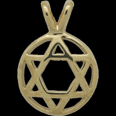 Davidster hangertje in cirkel van zilver verguld met geelgoud, stijlvol iets bol ontwerp met dubbel oogje voor ketting