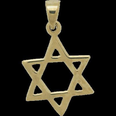 Davidster hangertje van zilver verguld met geelgoud, eenvoudig ontwerp