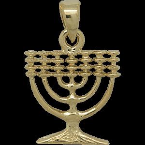 Menorah hangertje, mooi zilver met geelgoud verguld Menorah / Menora hangertje