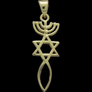 Messiaans Zegel hangertje, neutraal zilver met geelgoud verguld Messiaans Zegel hangertje glanzend afgewerkt