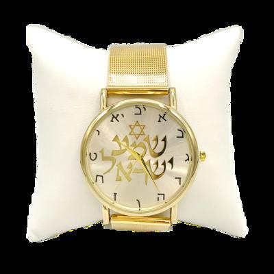 Mooi goudkleurig Horloge met Hebreeuwse cijfertekens en de Hebreeuwse tekst Shema Yisrael... (Hoor Israel...), zowel geschikt voor heren als voor dames met geelgoud vergulde verstelbare metalen band