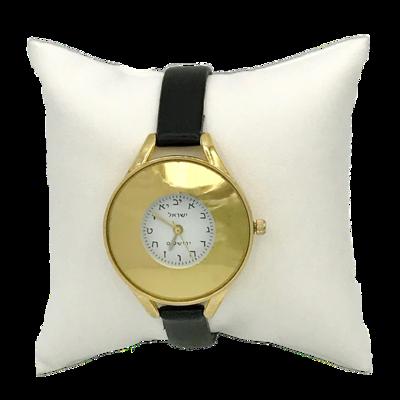 Horloge, elegant goudkleurig dameshorloge met Hebreeuwse cijfertekens voorzien van een soepel zwart leren bandje