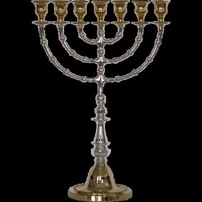 Prachtige grote Menorah / Menora van zwaar brons in twee kleuren en in twee grote maten verkrijgbaar (56 en 43 cm hoog)