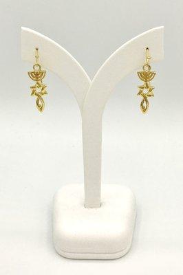 Oorbellen, Oorhangertjes met het Messiaans Zegel geel-goud verguld van de Israelische ontwerpster Marina