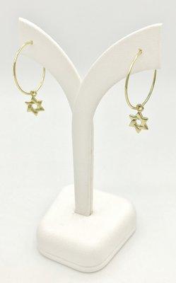 Oorbellen, Oorhangertjes in de vorm geel-goud verguld ringetje met kleine Davidster van de Israelische ontwerpster Marina
